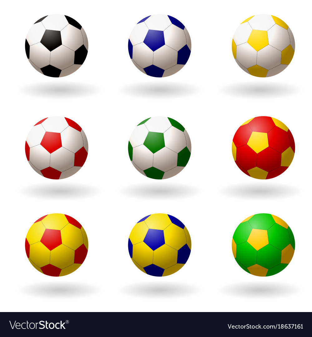 - Soccer Ball Set Of Balls Different Colors For Vector Image