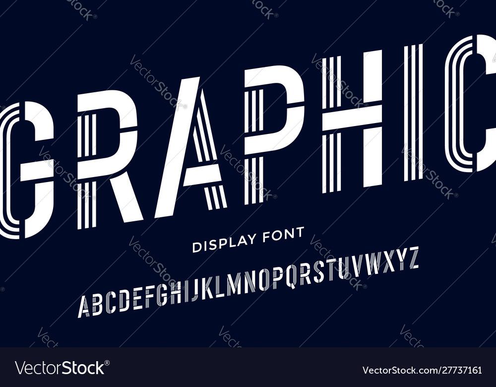Stencil font black and white condensed alphabet