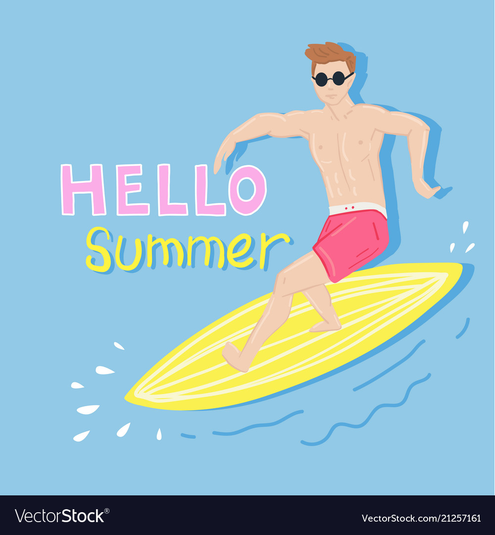 Summer beach poster with surfer on surfboard