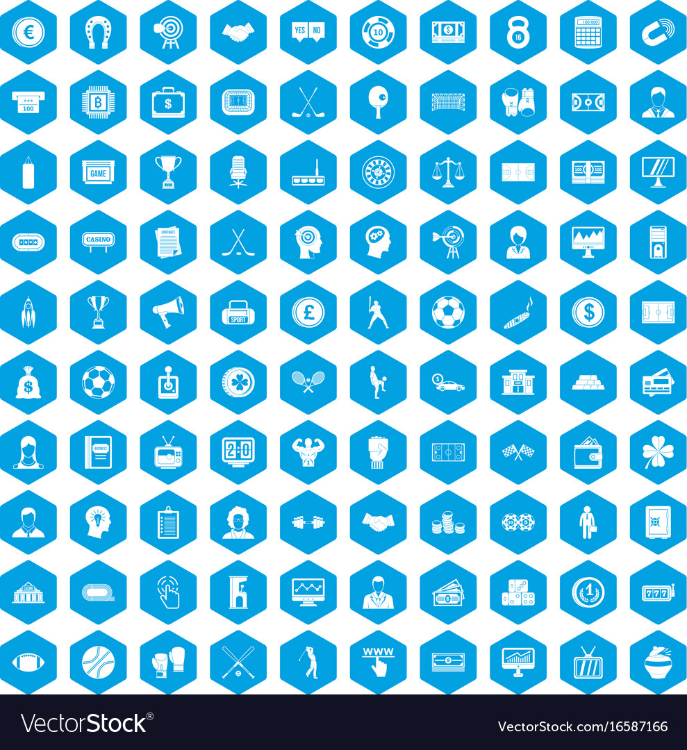 100 totalizator icons set blue