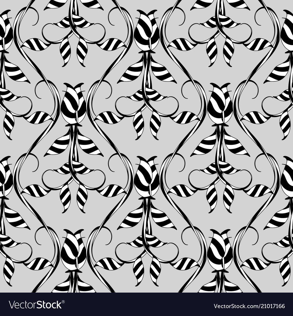 Abstract floral seamless pattern grey