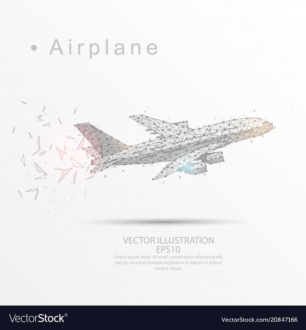 Airplane digitally drawn low poly triangle wire