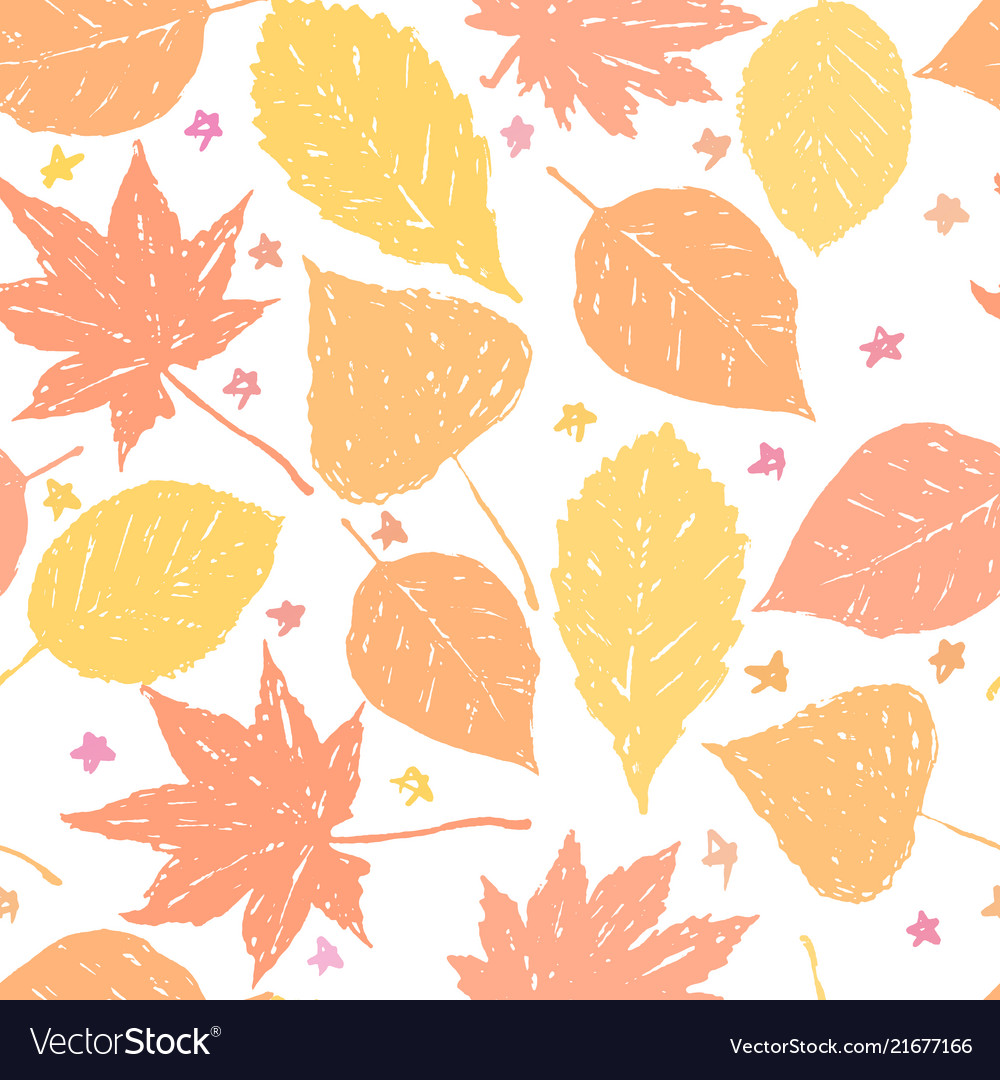 Autumn ink hand drawn leaves seamless pattern