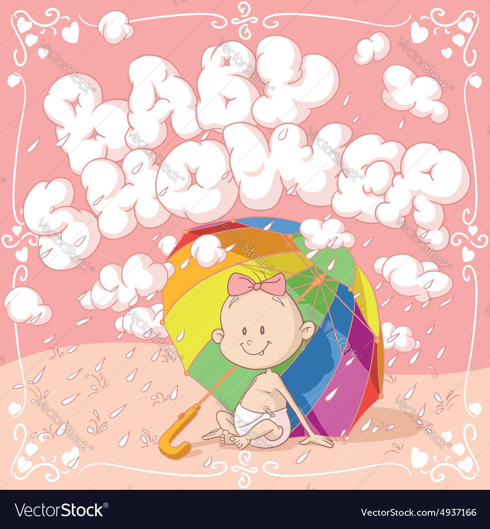 Baby Shower Cartoon Invitation vector image