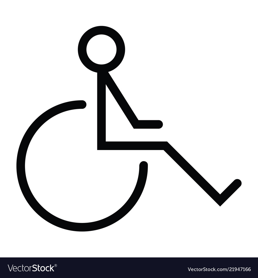 Disability wheel chair icon with outline style