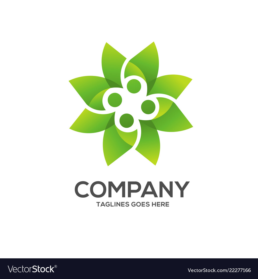 Eco environment green leaf nature logo