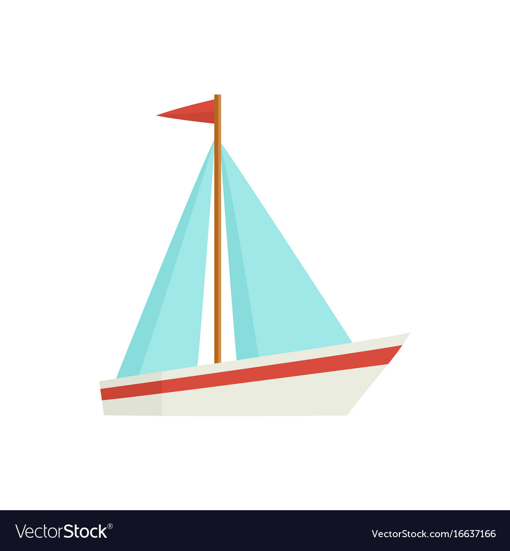 flat cartoon little sailing ship boat sailboat vector image rh vectorstock com sailboat cartoon picture sailboat cartoon images