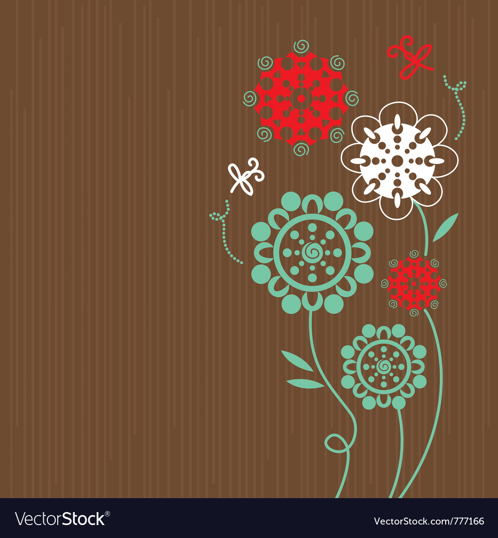 Floral background with cartoon dragonflies