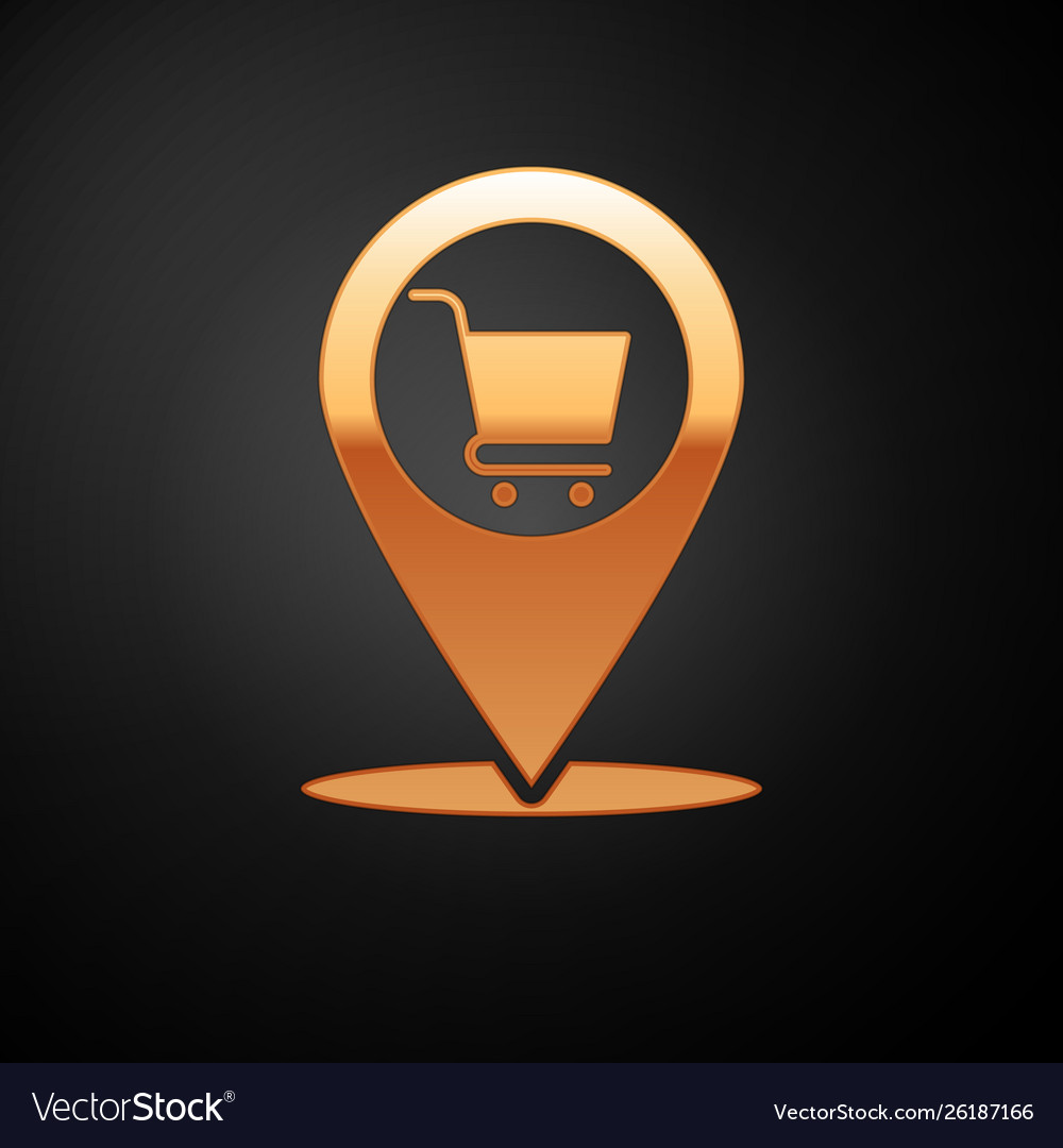 Gold map pointer with shopping cart icon isolated Map Cart on