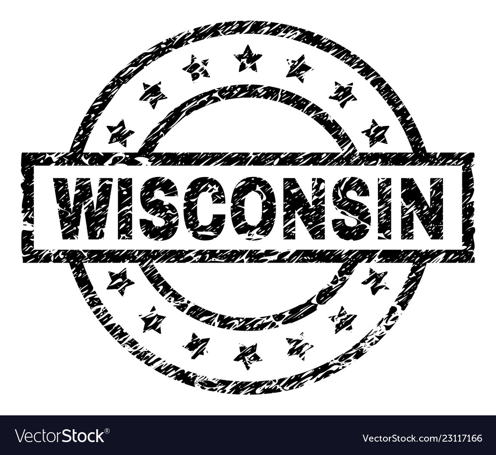 Grunge Textured Wisconsin Stamp Seal Vector Image