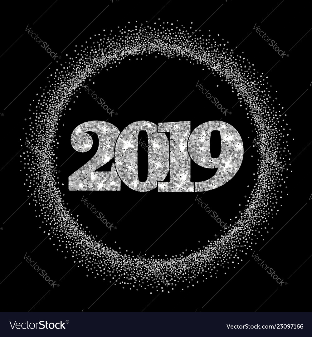 Happy new year silver number 2019 circle frame