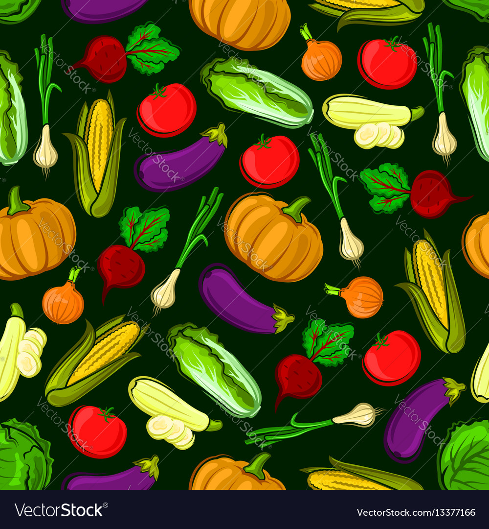 Icons of vegetables in seamless pattern