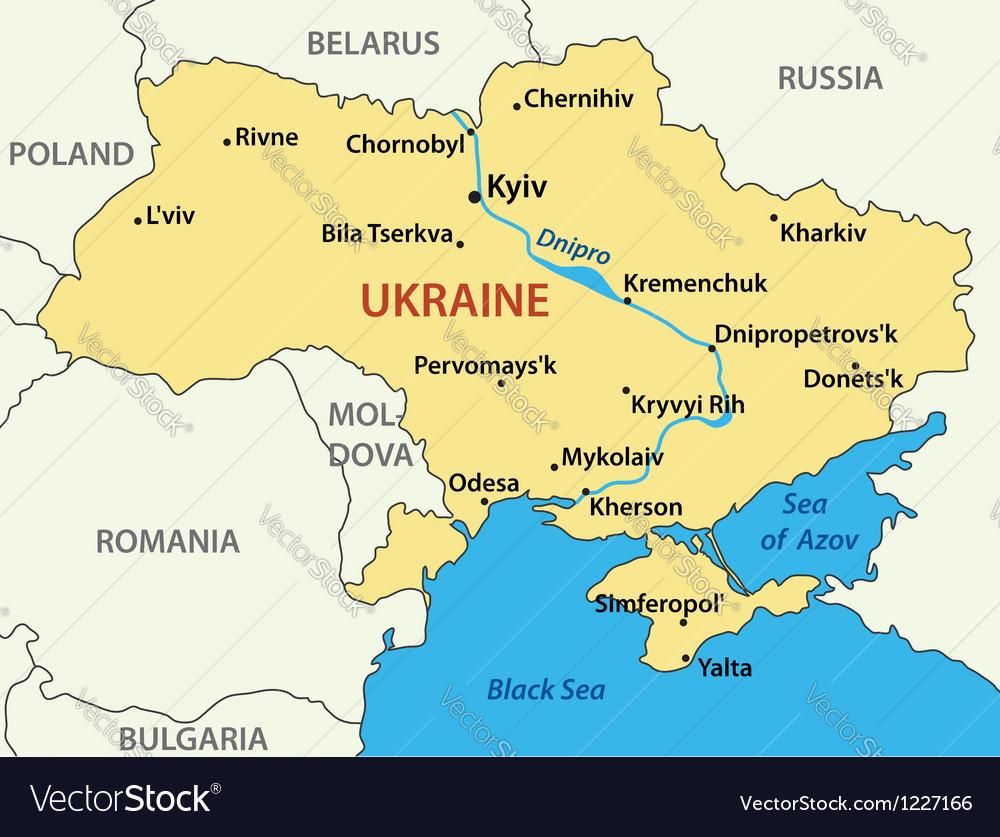 Map Of Ukraine Map of Ukraine Royalty Free Vector Image   VectorStock Map Of Ukraine