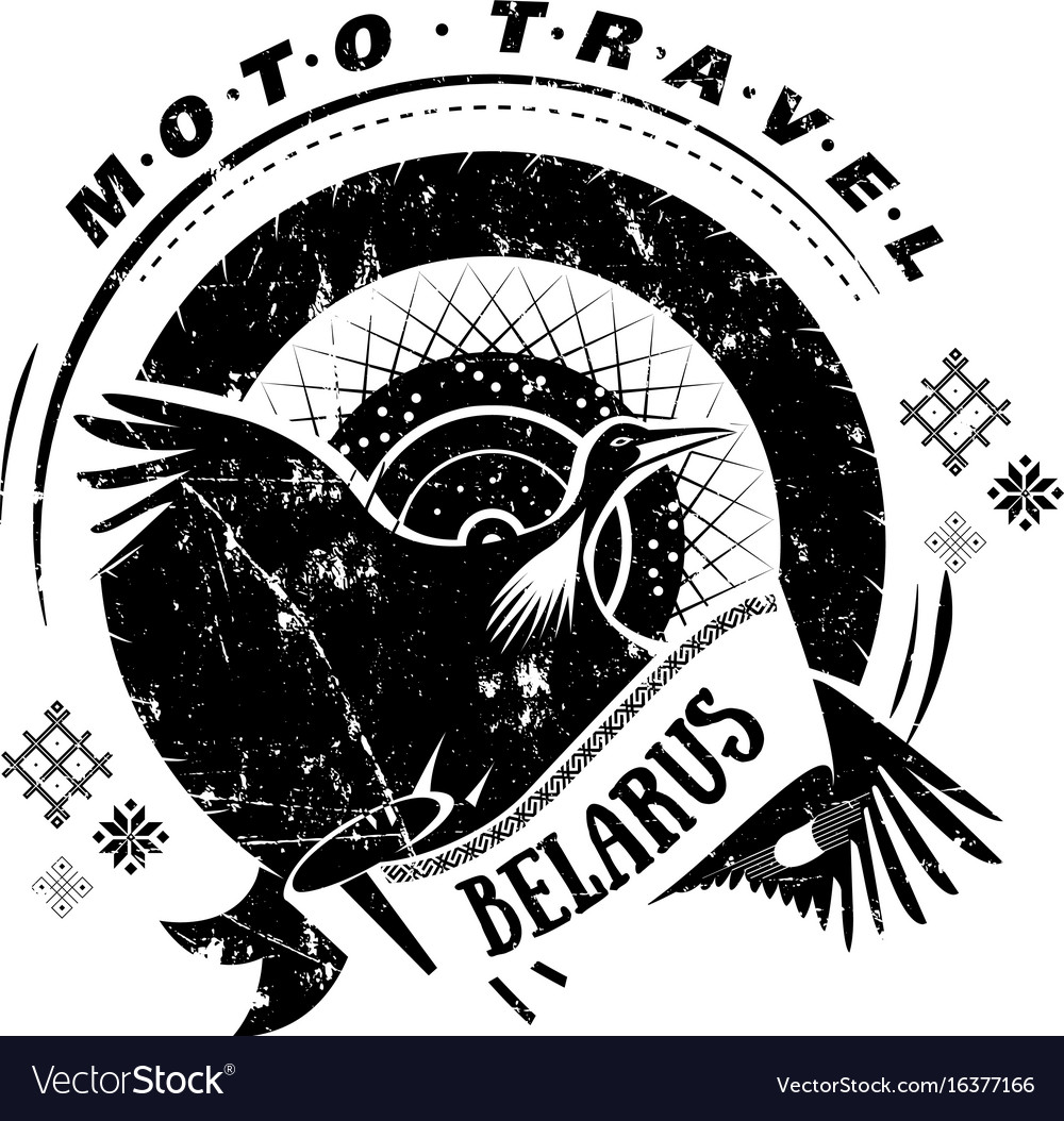 Moto travel emblem bird stork wheel national