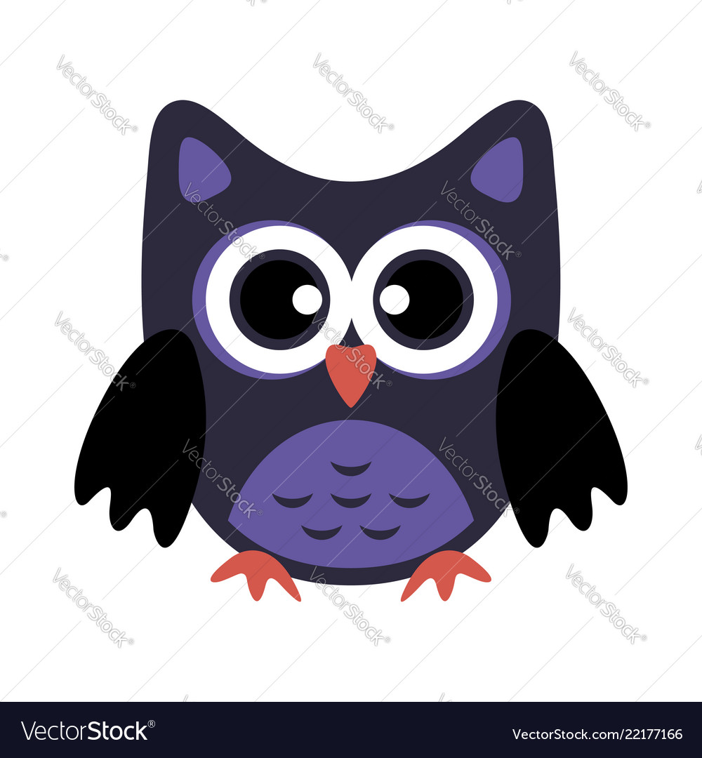 Owl stylized icon in dark blue colors