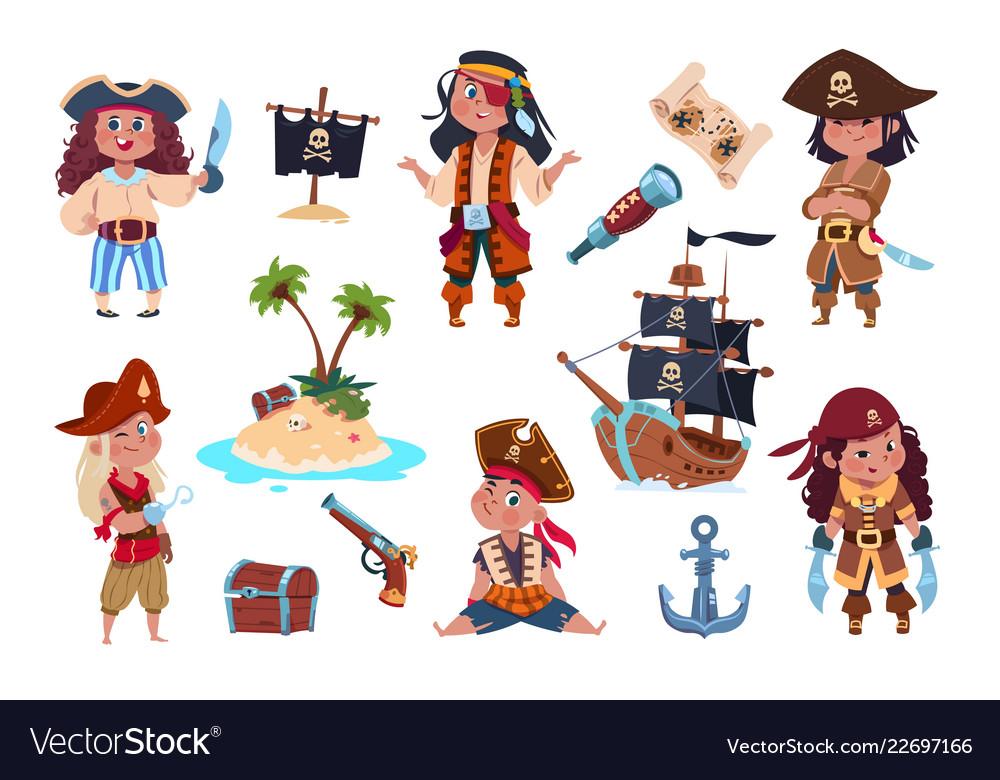 Pirate characters cartoon kids pirates sailors