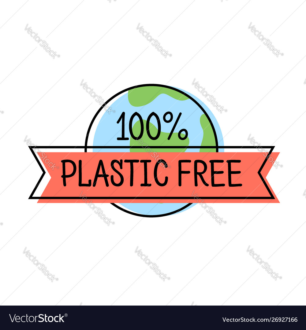 Plastic free product label logo line style with
