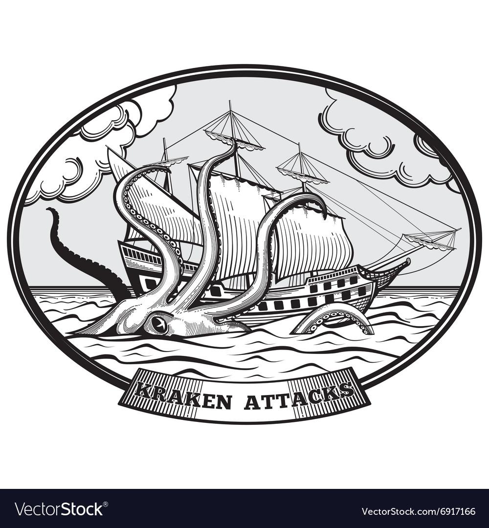 Sailing ship and Kraken monster octopus vector image
