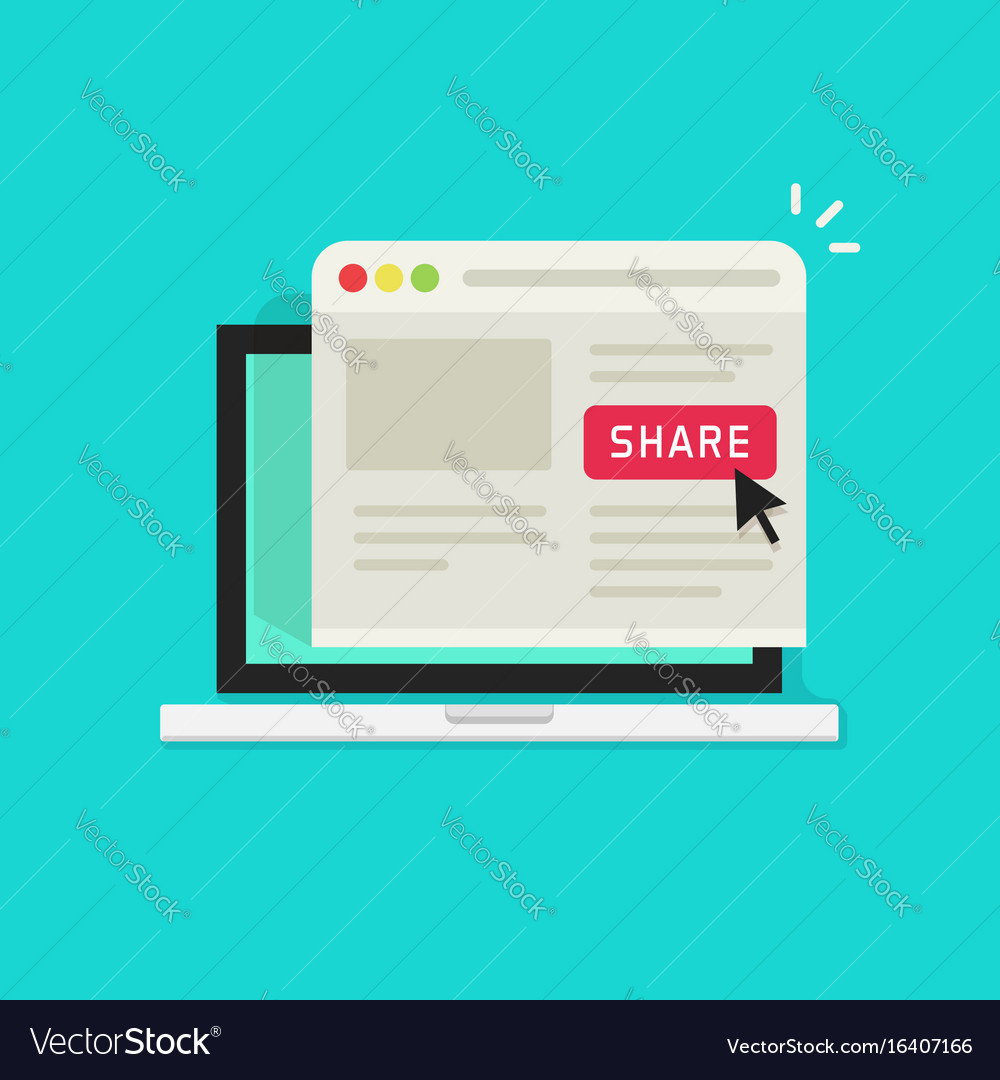 Sharing website page via share button on browser vector image