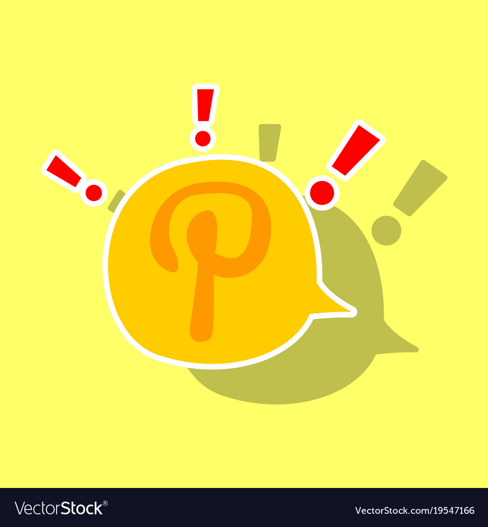 Sticker icon of pinterest on background with