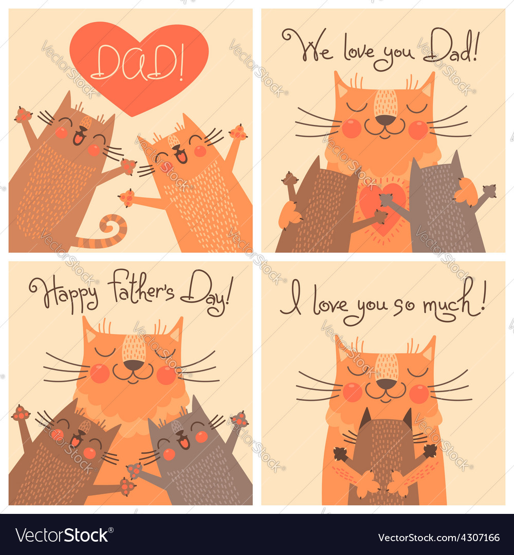 Sweet cards for Fathers Day with cats