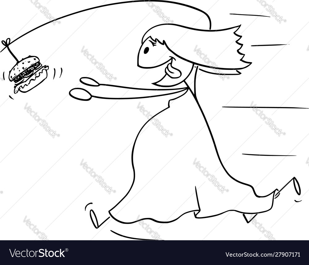 Cartoon fat overweight woman chasing unhealthy