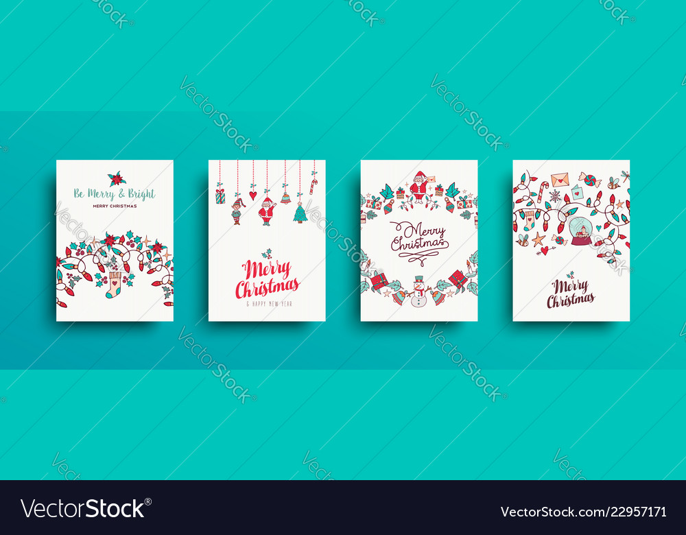 Christmas and new year cute hand drawn card set