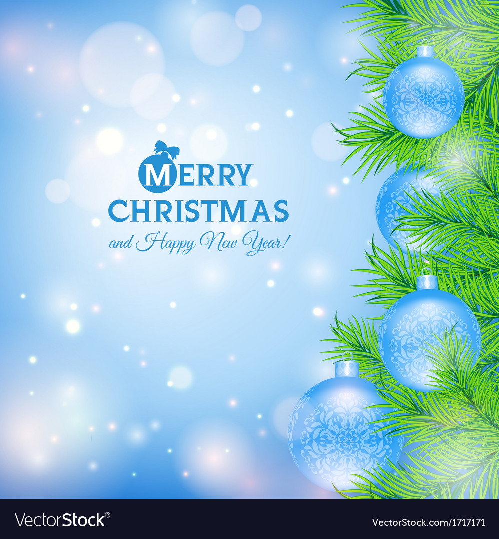 Greeting card with Christmas tree and blue balls