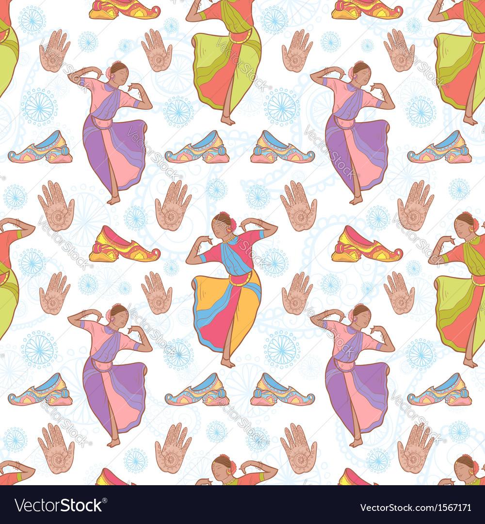 Indian dancer girl seamless pattern vector image