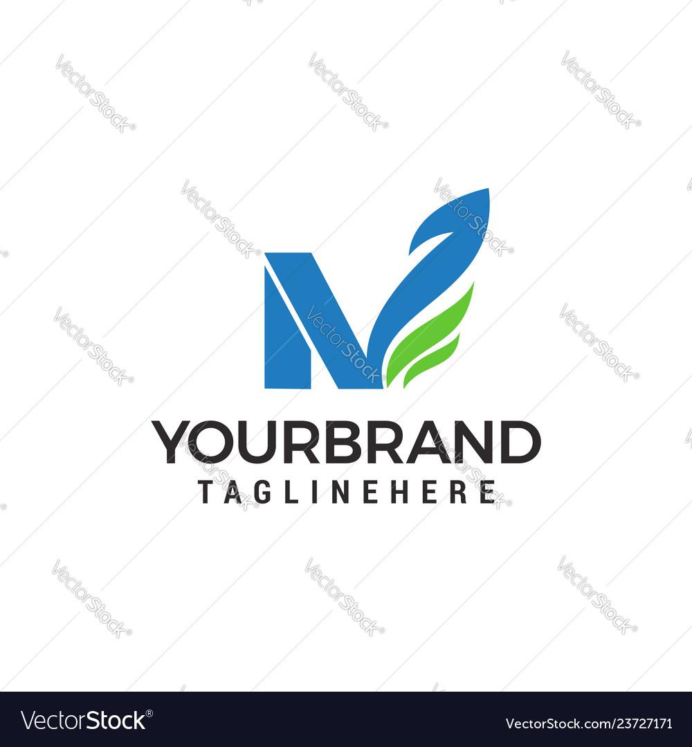 Letter n green eco leaf logo template design