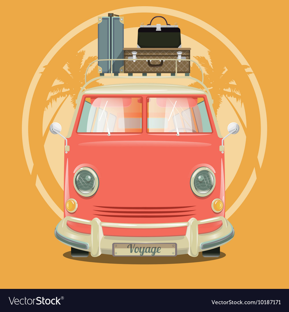 Minibus with suitcases and palm trees