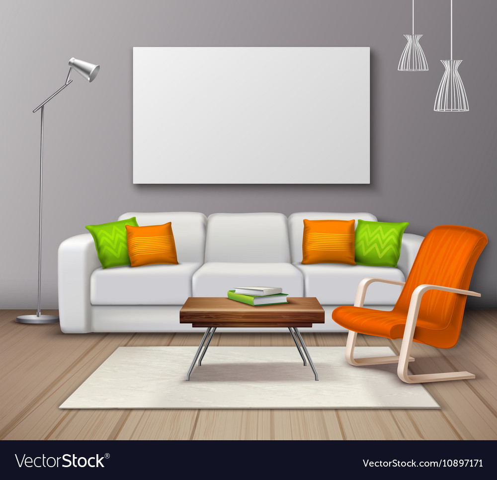 Modern Interior Colors Mockup Realistic Poster Vector Image