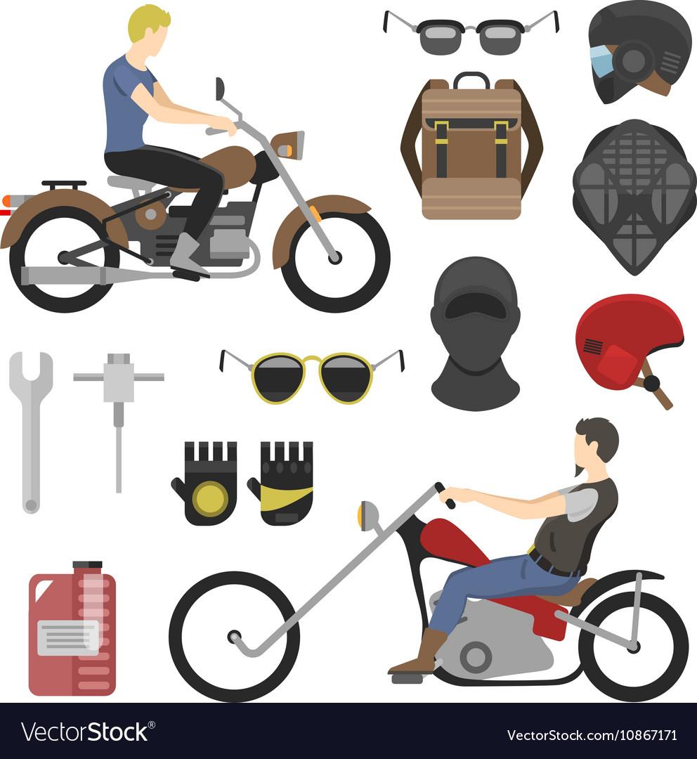 Motorcyclist set iclude tools glasses helmet