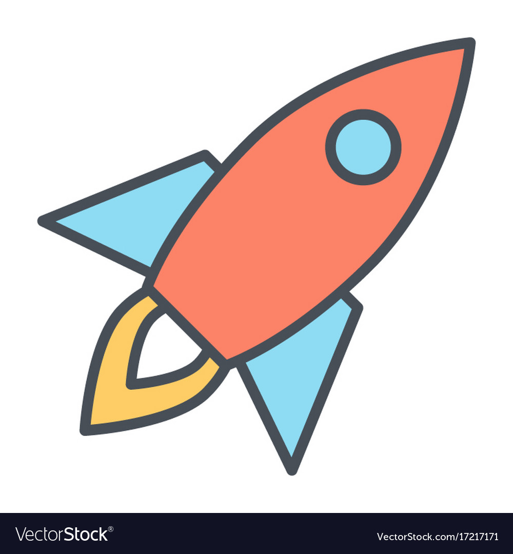 Rocket line icon business startup symbol