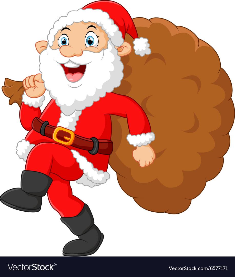 Santa walking and holding sack vector image