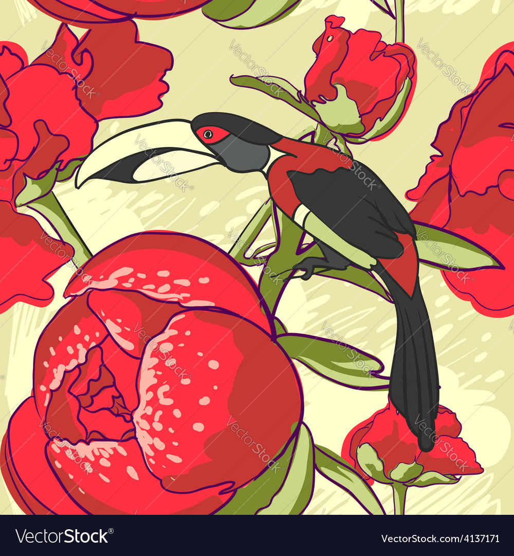 Seamless floral background with peonies bird
