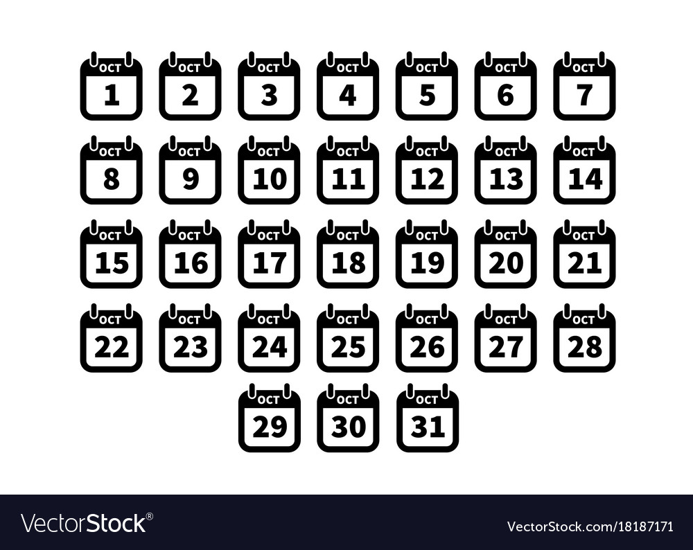 Set of simple black calendar icons on october vector image