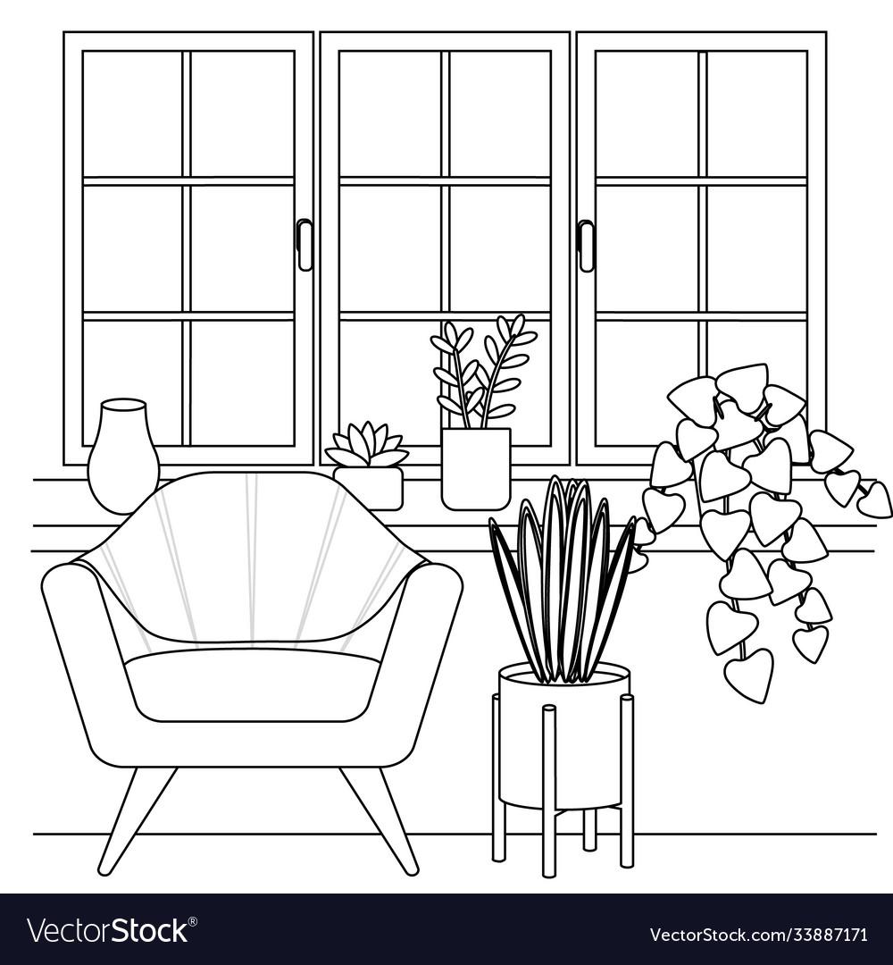 Silhouette furniture near window