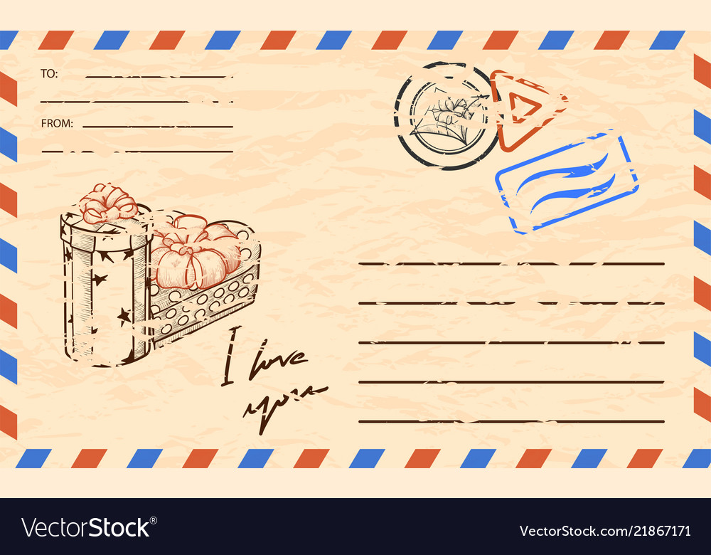 Vintage Postcard Template With Copy Space For Vector Image