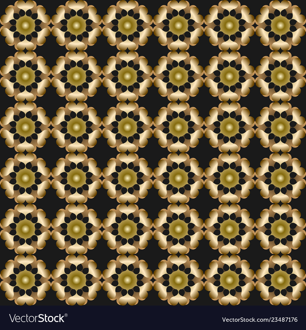 3d gold patterns on black background seamless
