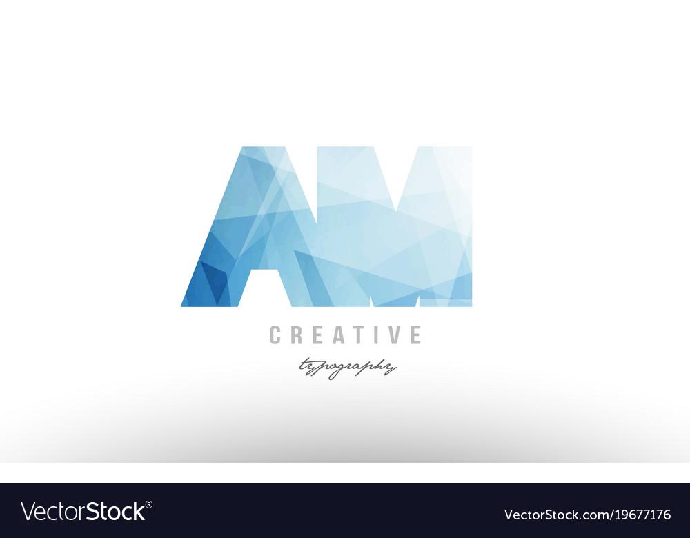 Am a m blue polygonal alphabet letter logo icon