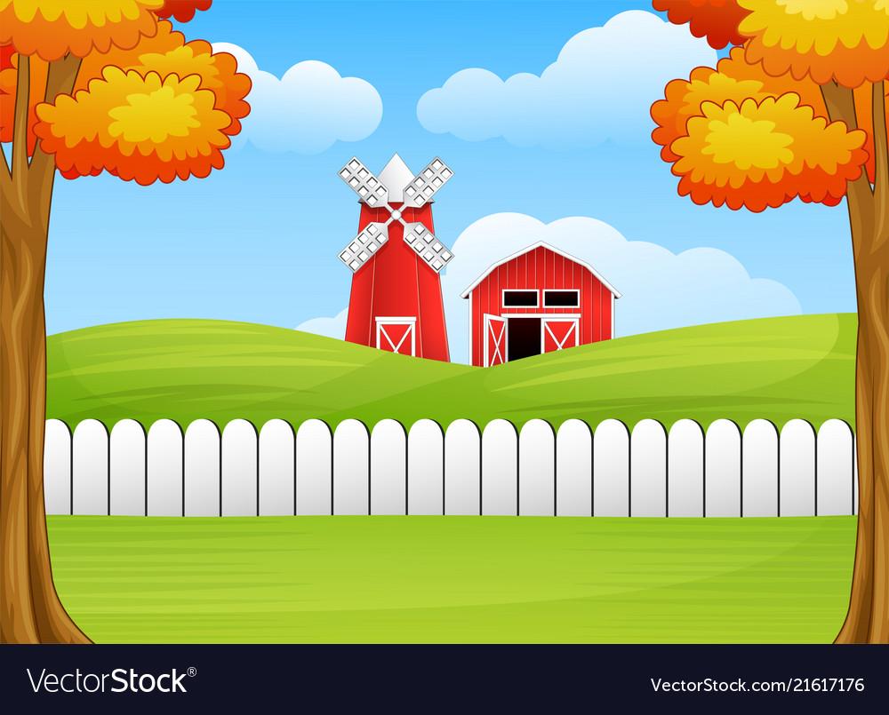 Cartoon Farm Landscape With Windmill And Barn