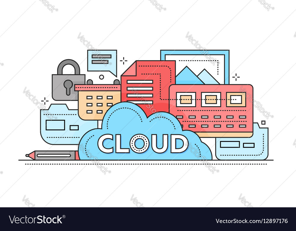 Cloud Storage Technology - flat line design