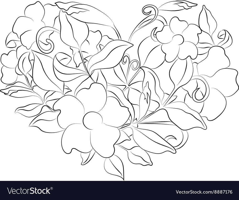 Coloring Page Flower Heart With Details Vector Image