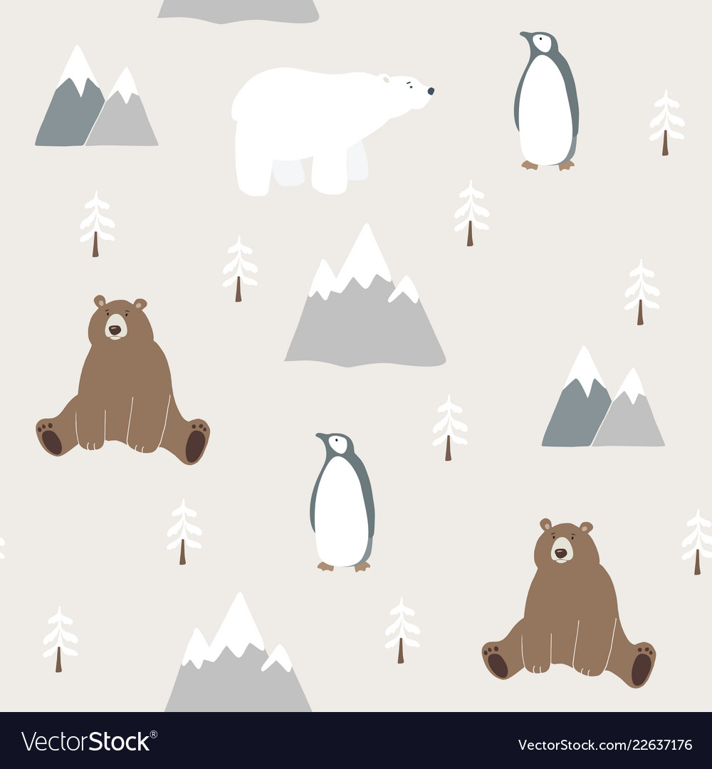 Cute festive christmas seamless pattern with bear