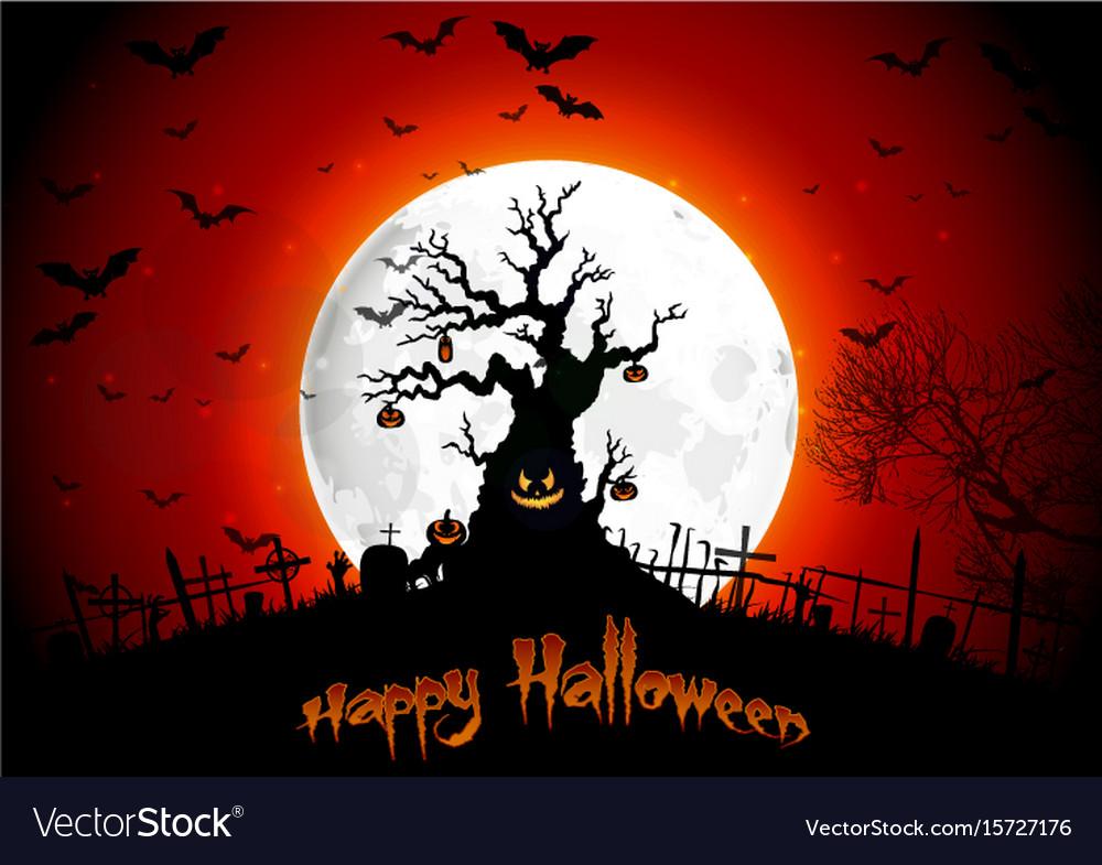 Halloween background on the full moon