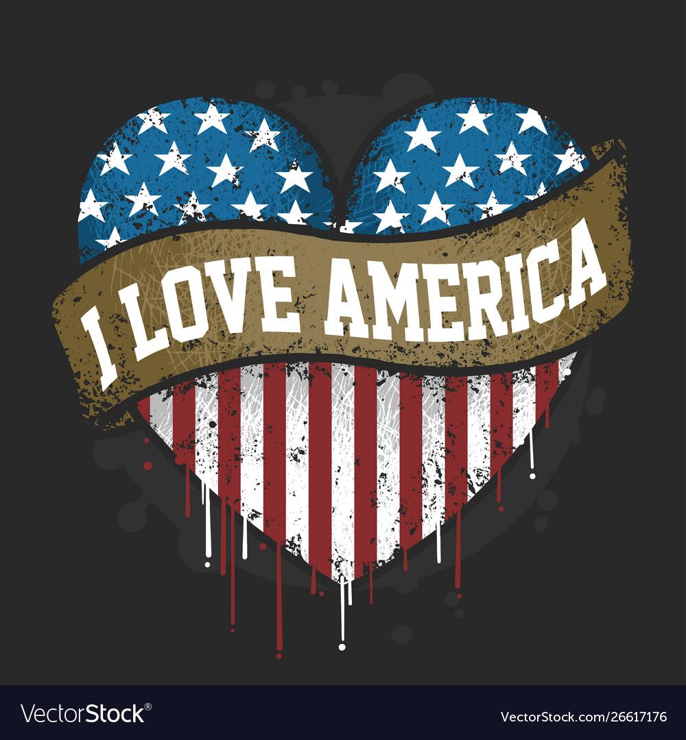 I love you america usa flag artwork