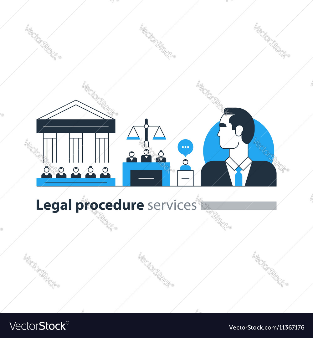 Legal court house trial services icons lawyer man