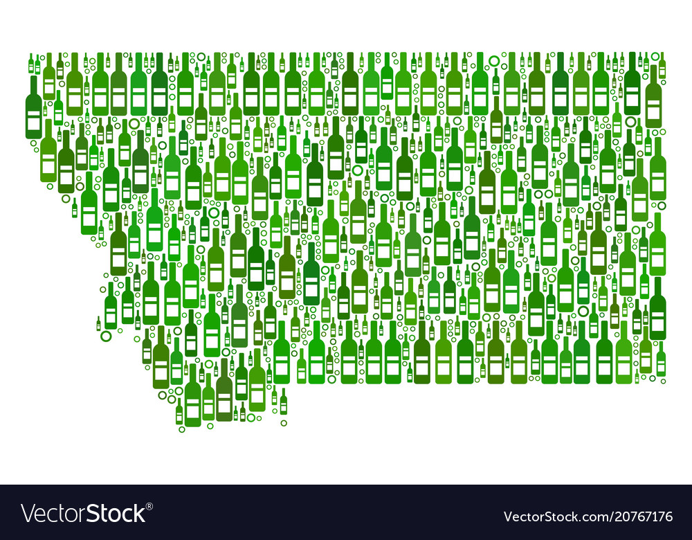 Montana State Map Mosaic Of Wine Bottles And Vector Image