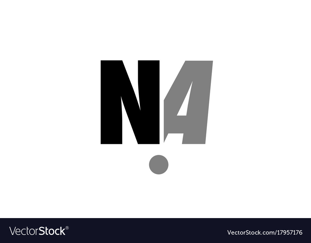 Na N A Black White Grey Alphabet Letter Logo Icon Vector Image